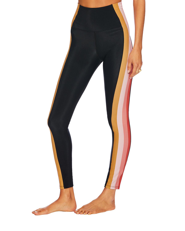 Megan Coral Stripe Leggings