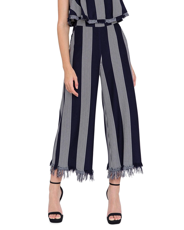Stripe Fringe-Hem Wide Pants