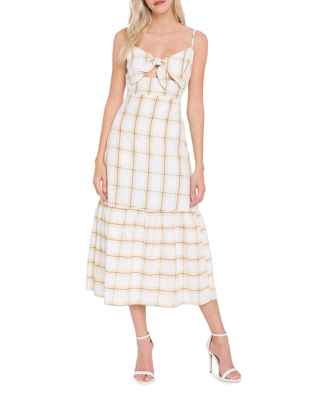 Check-Print Front-Tie Maxi Dress