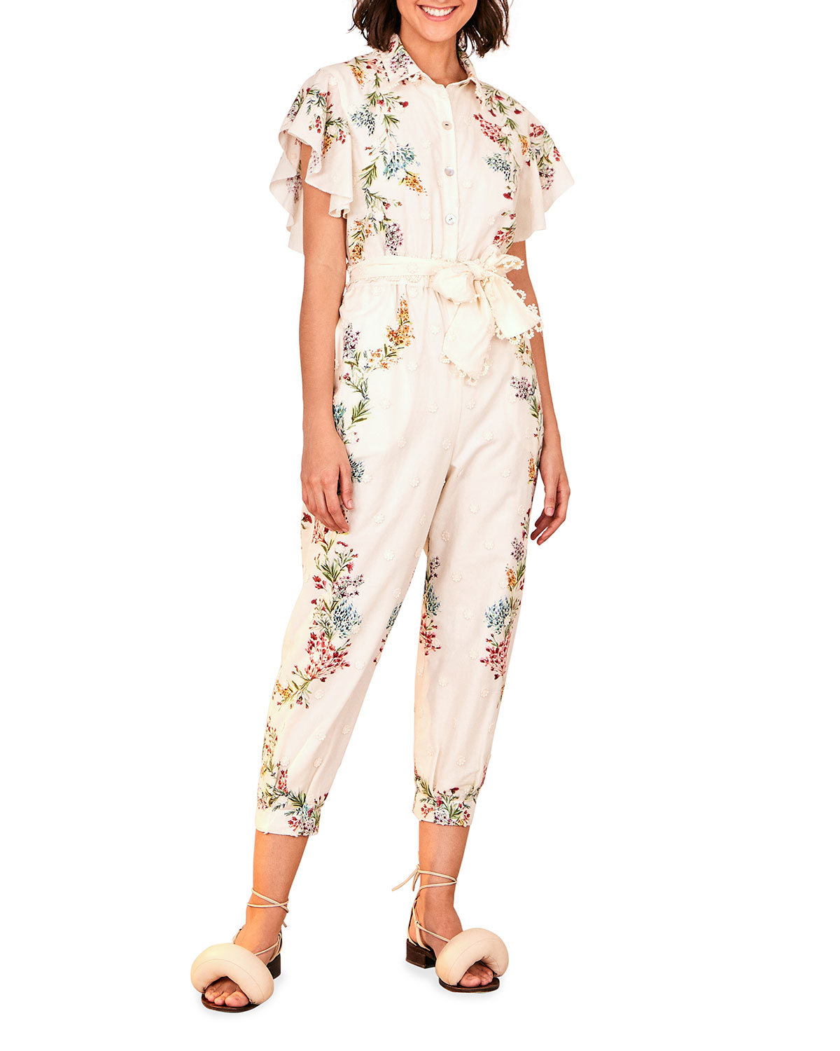Farm Rio LOUISE FLORAL FRILLED-SLEEVE JUMPSUIT