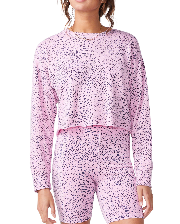 Mini Cheetah Cutoff Boyfriend Sweatshirt