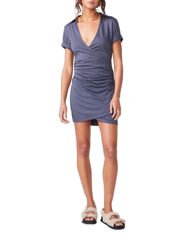 Shirred-Waist Mini Shirtdress