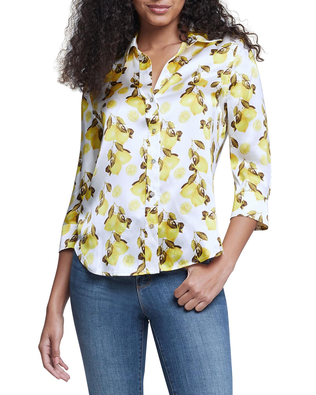 Dani Lemon-Print 3/4-Sleeve Blouse