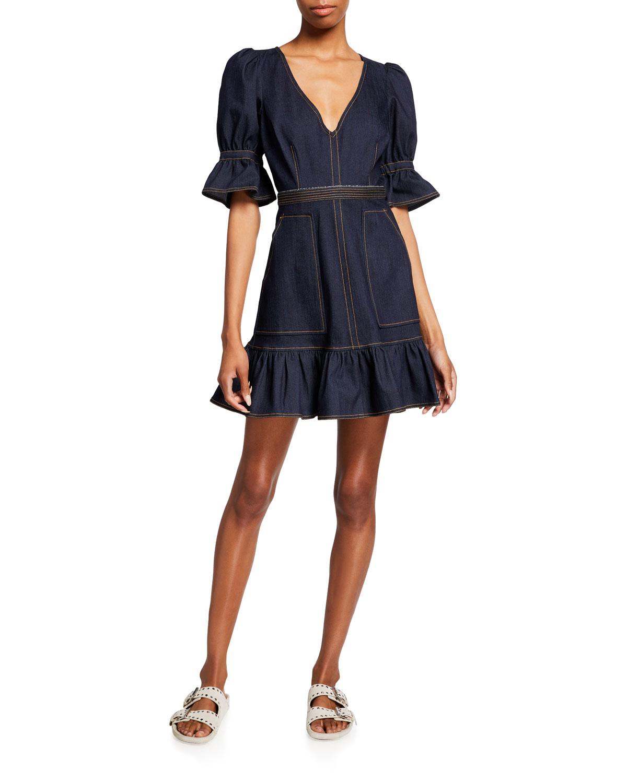 Natasha Puff-Sleeve Mini Denim Dress