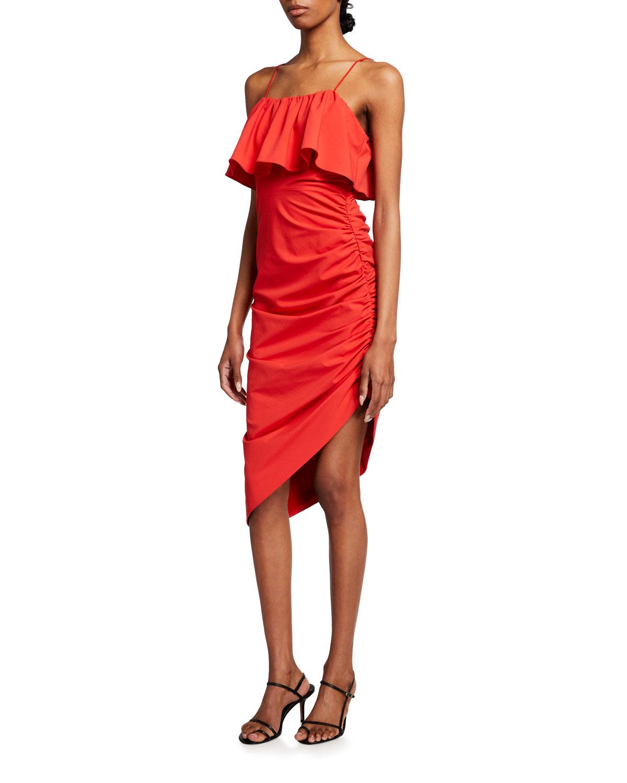 Christa Ruched Ruffle-Overlay Dress