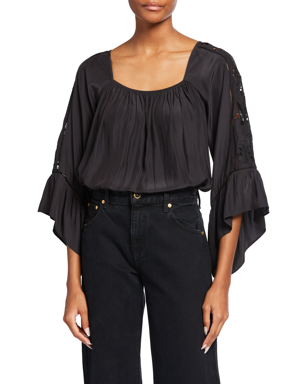 Ramy Brook JACKIE EMBROIDERED SATIN CHARMEUSE BLOUSE