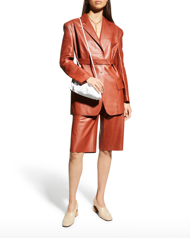 Honey Belted Leather Blazer