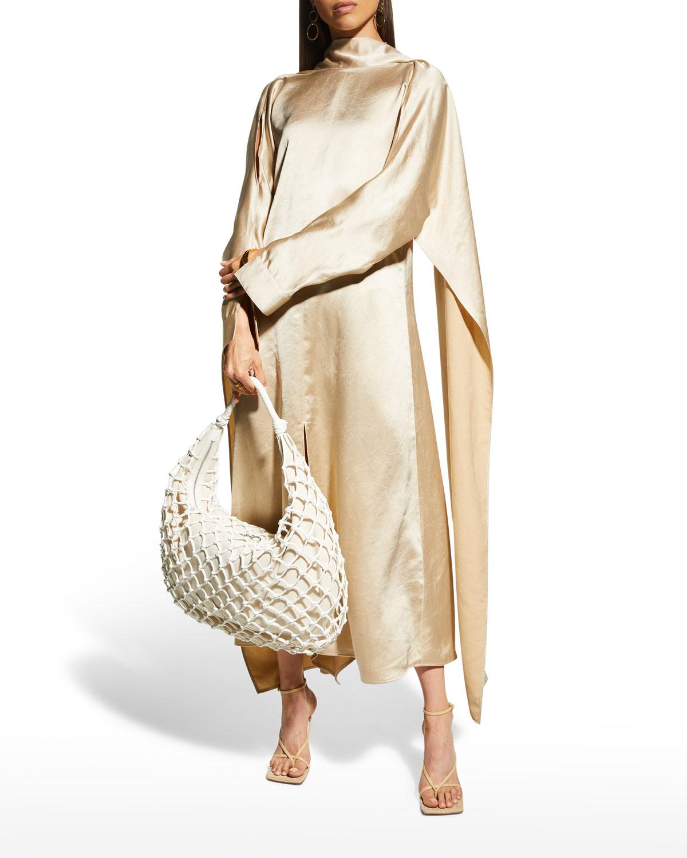 Amila Draped Crinkled Satin Dress