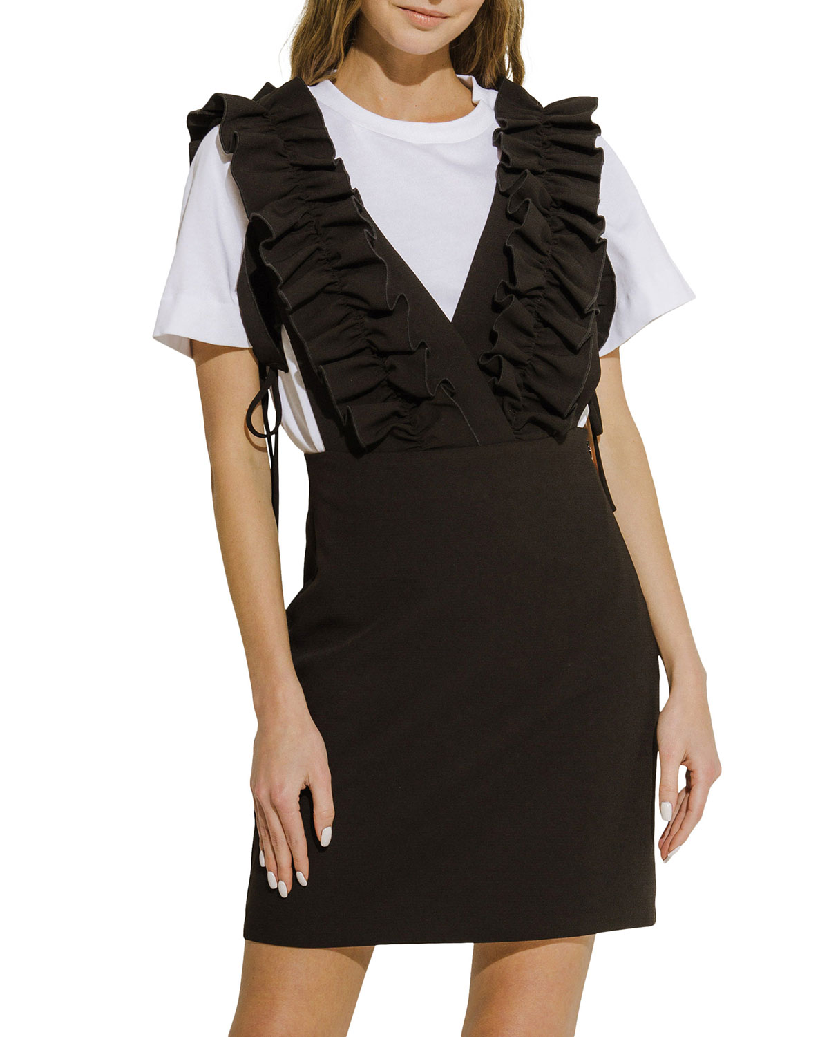 Plunged-Neck Fitted Mini Dress