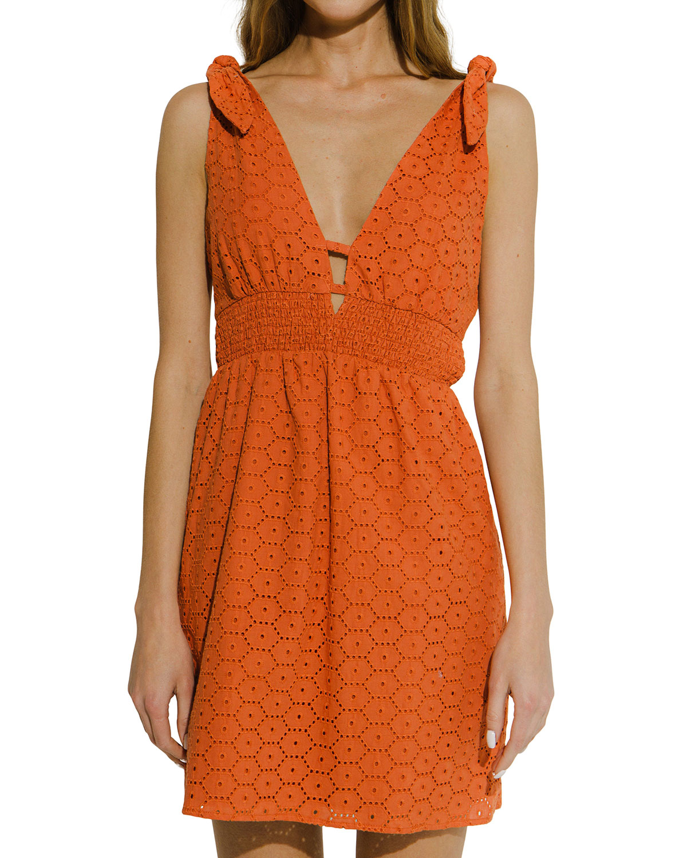 Tie-Shoulder Mini Cotton Eyelet Dress