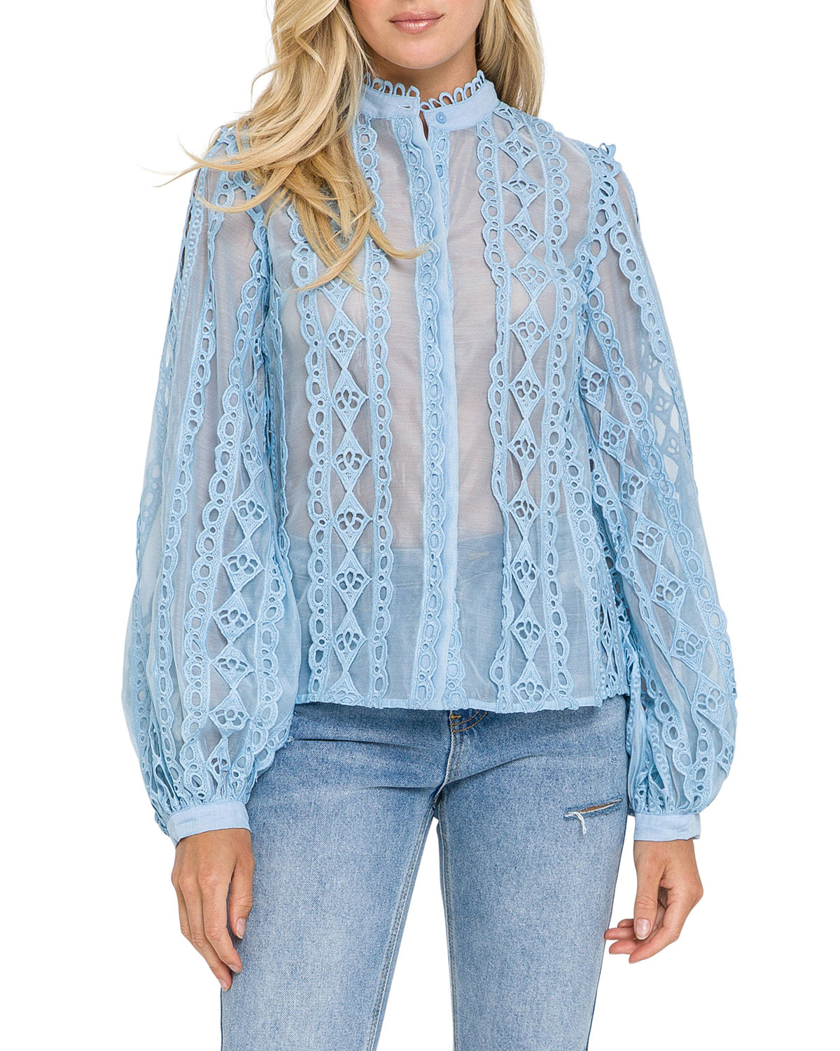 Lace-Trim Banded-Collar Blouse