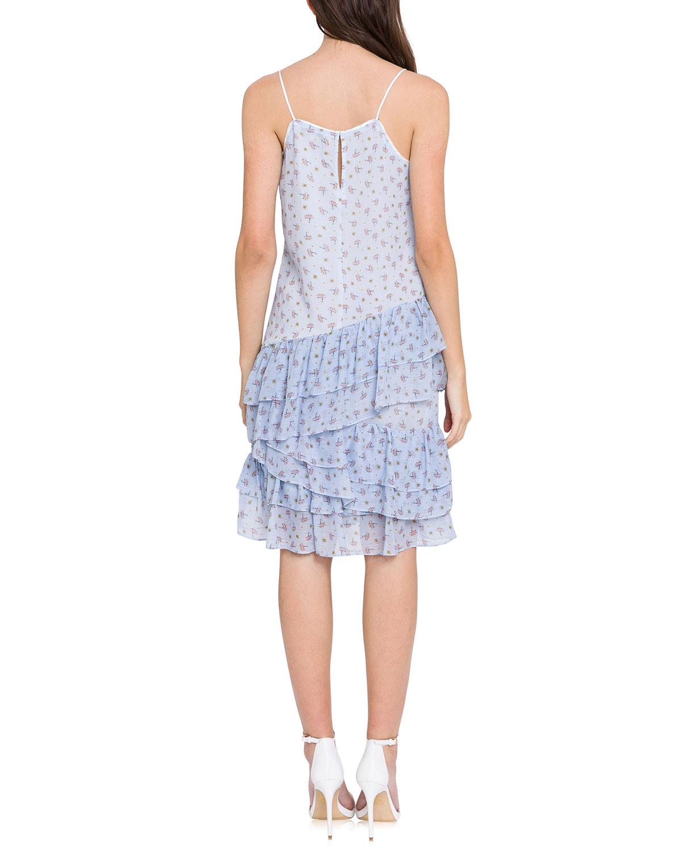 Ditzy Lotus Print Tiered Ruffle Dress