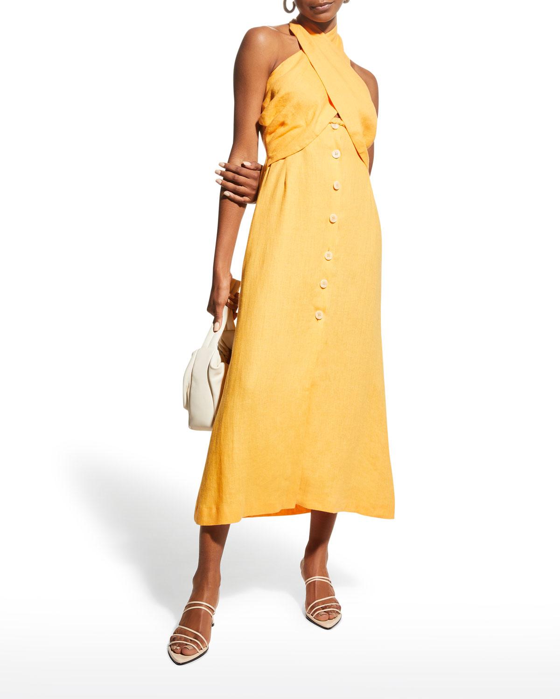 Soffio Linen Halter Dress
