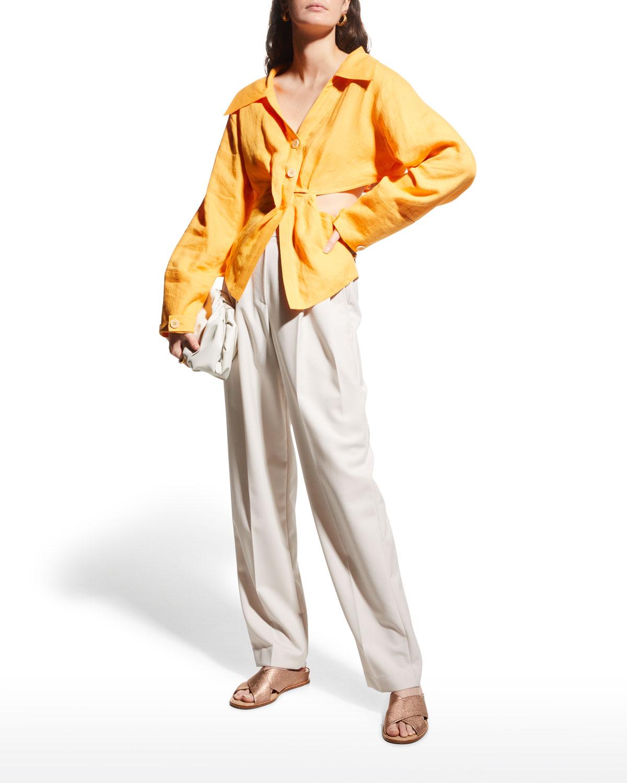 Rasha Linen Twist-Front Shirt