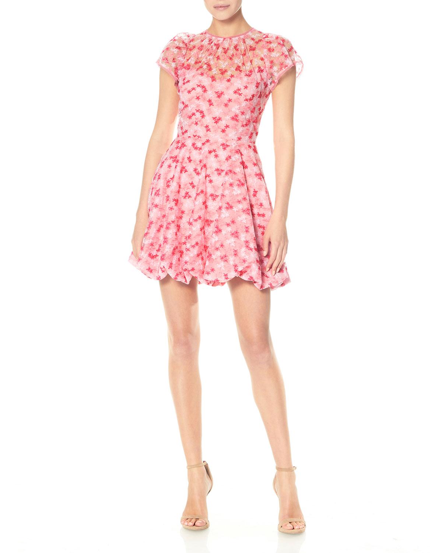 Cap-Sleeve Bubble-Skirt Mini Dress