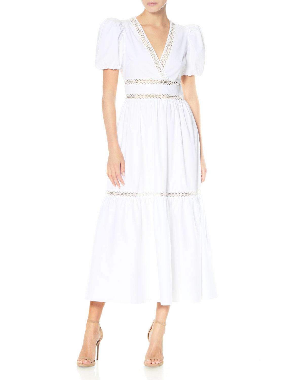 Short-Sleeve Poplin Midi Dress