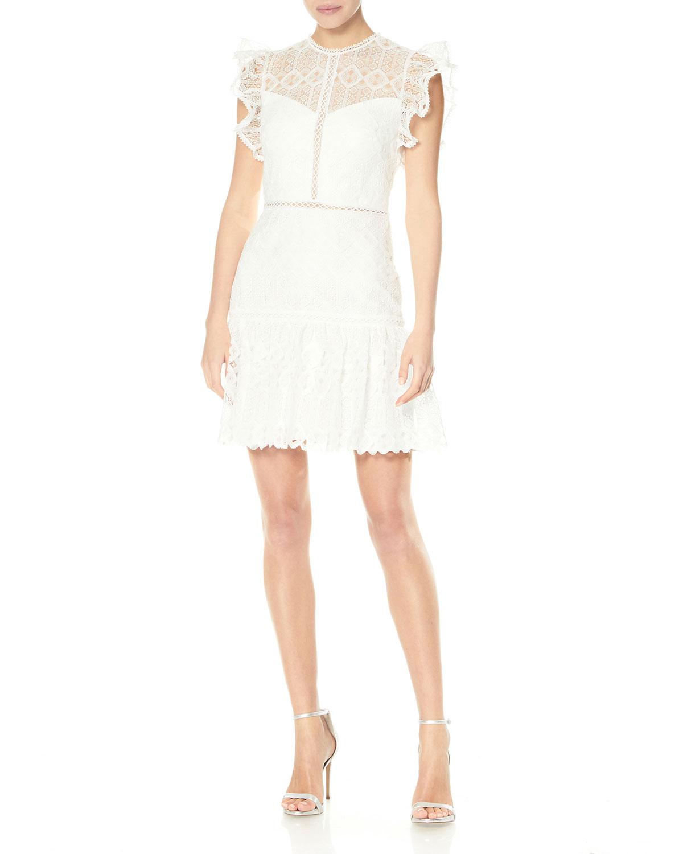 Ruffle-Sleeve Lace Mini Dress