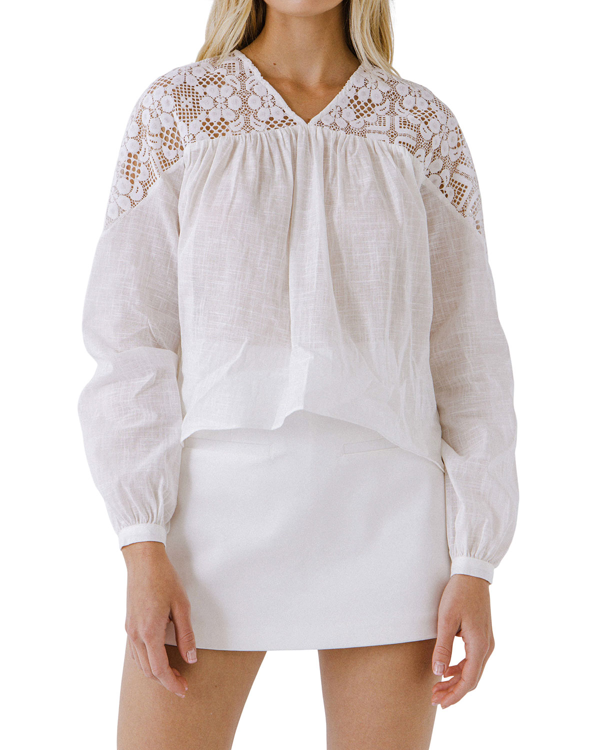 Long-Sleeve Blouse w/ Floral Lace