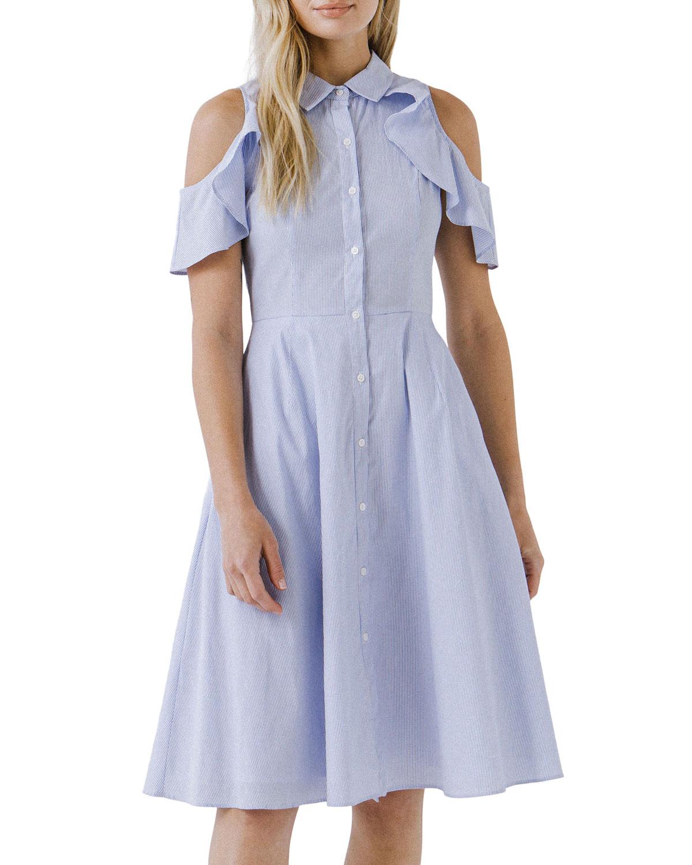 Cold-Shoulder Ruffle Poplin Dress