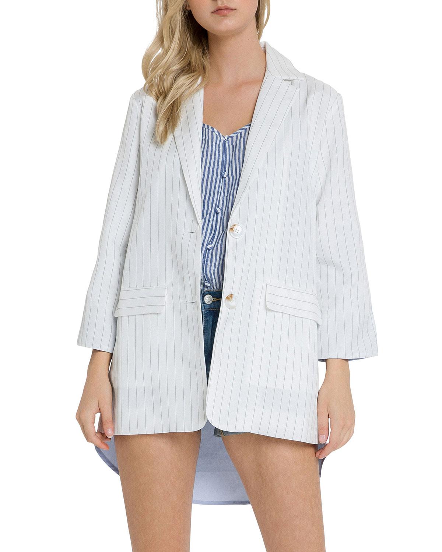 Stripe Single-Breasted Blazer