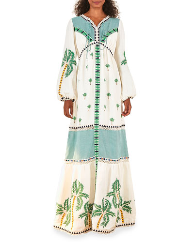 trees and plants block print square neck with tassel 34 sleeve cotton women/'s maxi dress