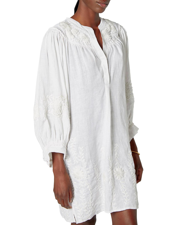 Farida Embroidered Linen Gauze Blouse