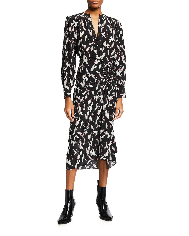 Carola Ruched Long-Sleeve Midi Dress