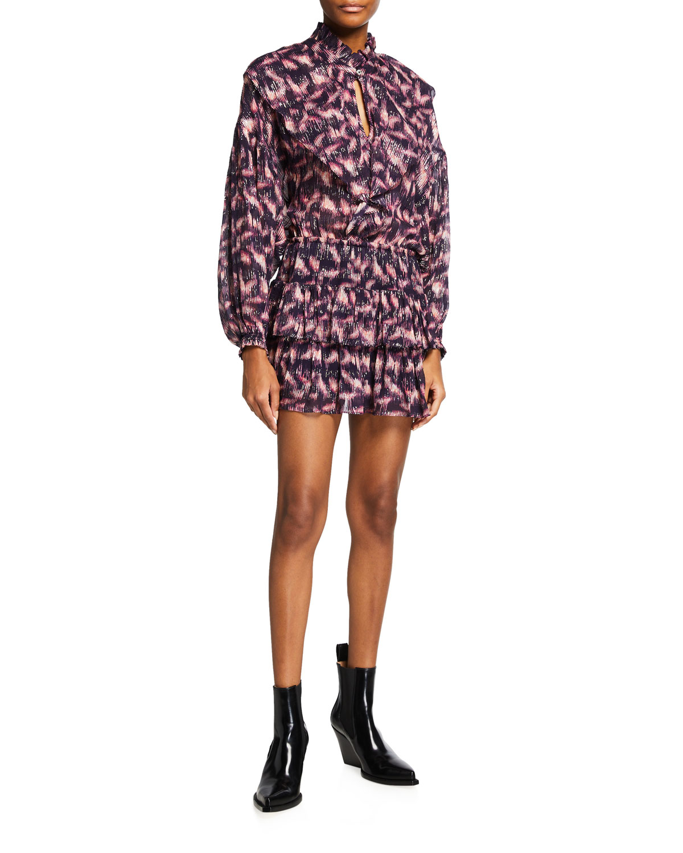 Tyga Printed Long-Sleeve Dress