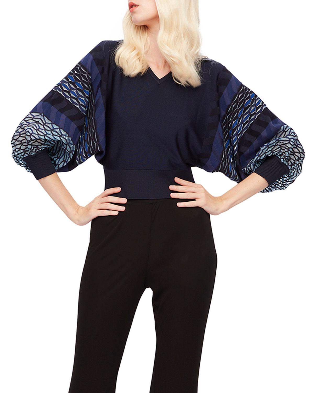 Eleanor Printed-Sleeve Sweater