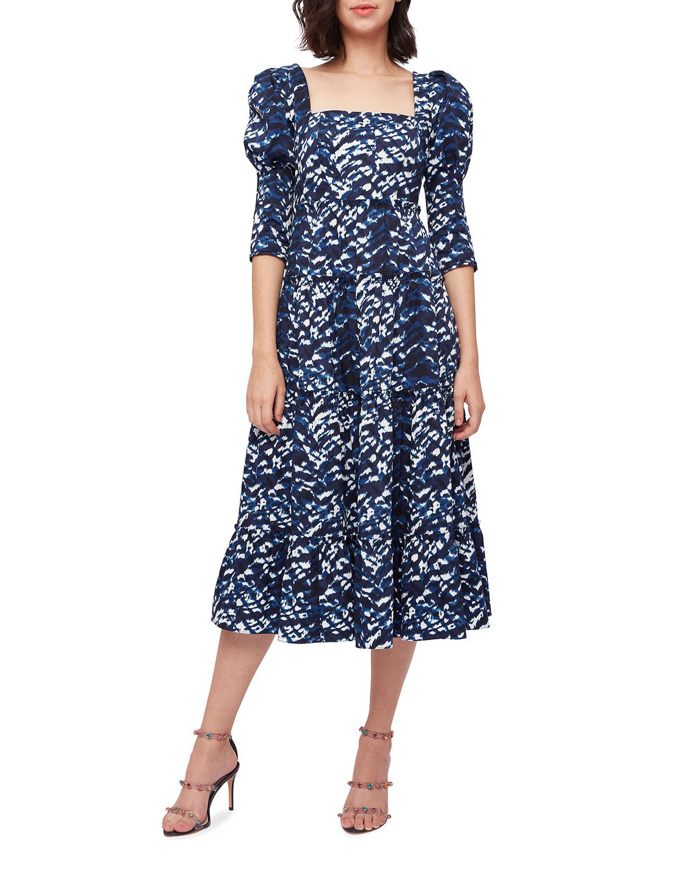 Nora Square-Neck Midi Poplin Dress