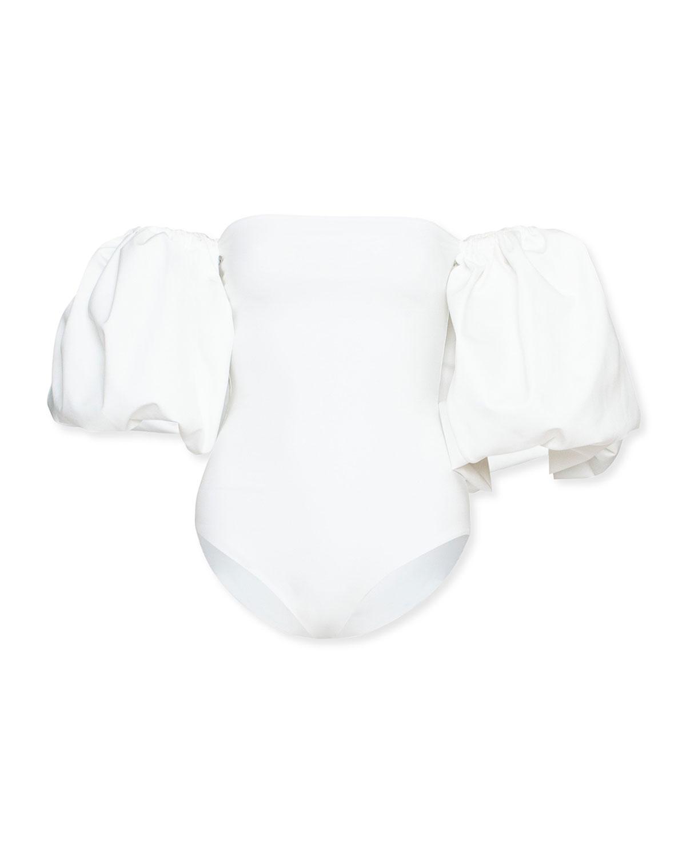 Theo Blouson-Sleeve One-Piece Swimsuit