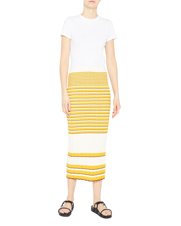 Irregular Rib Straight Skirt
