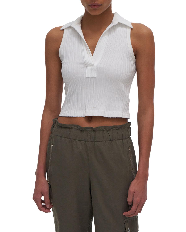 Cropped Ribbed Polo Shirt