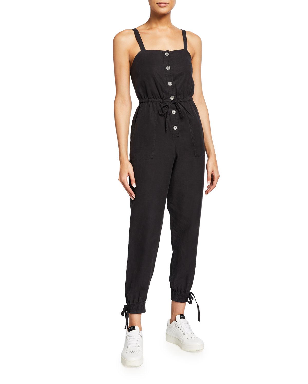 Tiana Button-Front Patch-Pocket Jumpsuit