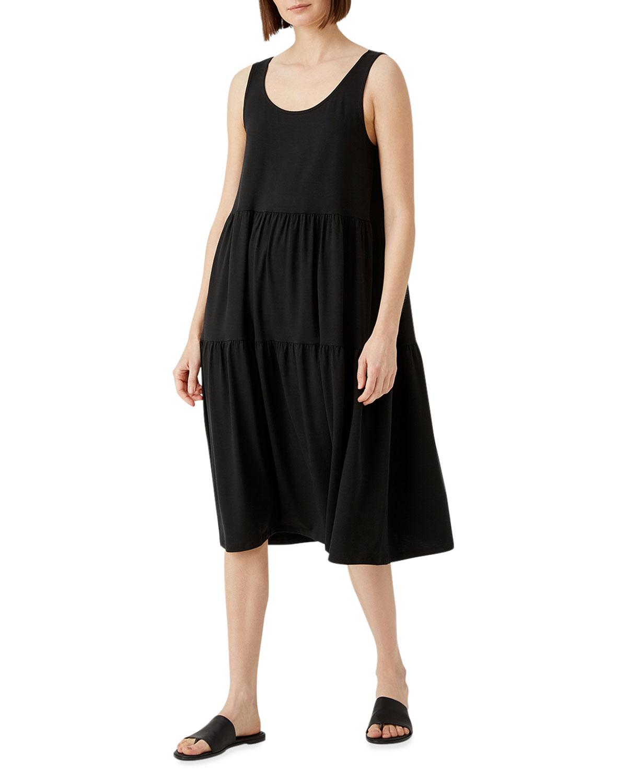 Scoop-Neck Fine Jersey Tiered Dress