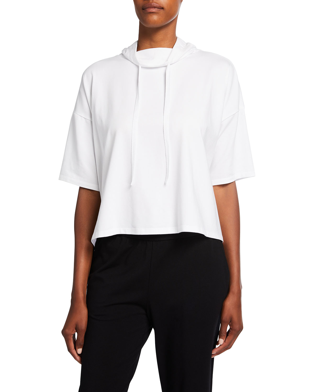 Organic Stretch Cotton Jersey Funnel-Neck Top