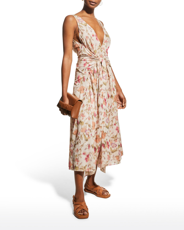 Tie-Front Floral Midi Dress