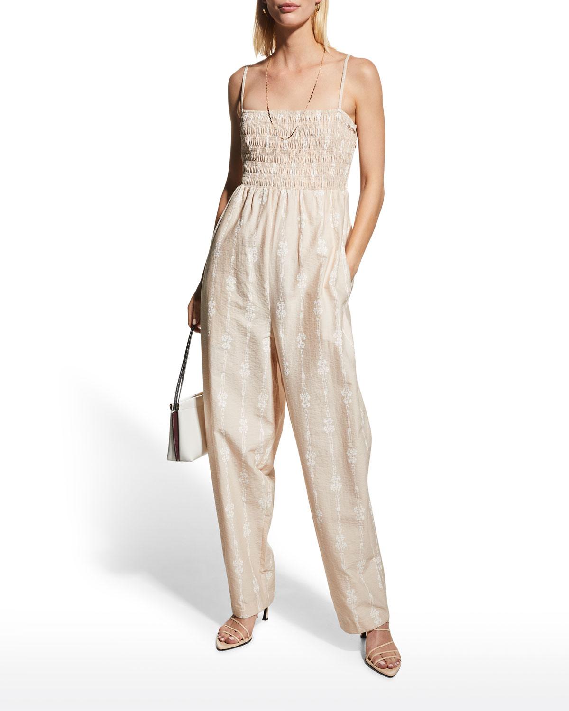 Smocked Cotton Sleeveless Jumpsuit
