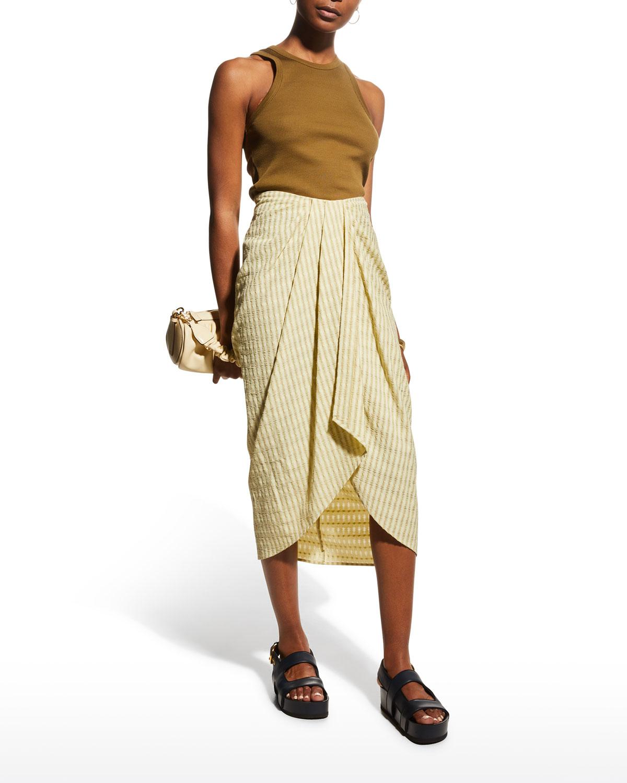 Faux-Wrap Midi Skirt