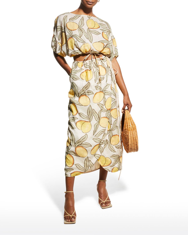 Lemon-Print Tulip Wrap Skirt