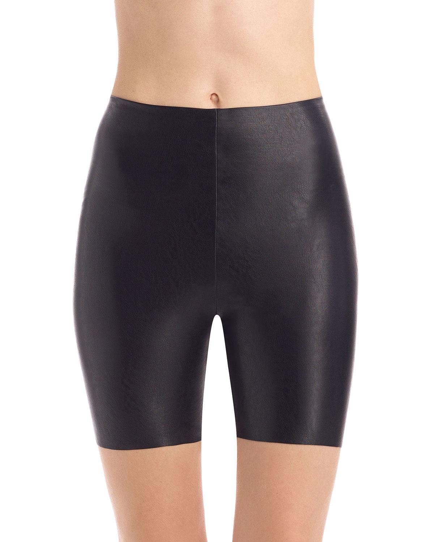 Faux-Leather Biker Shorts