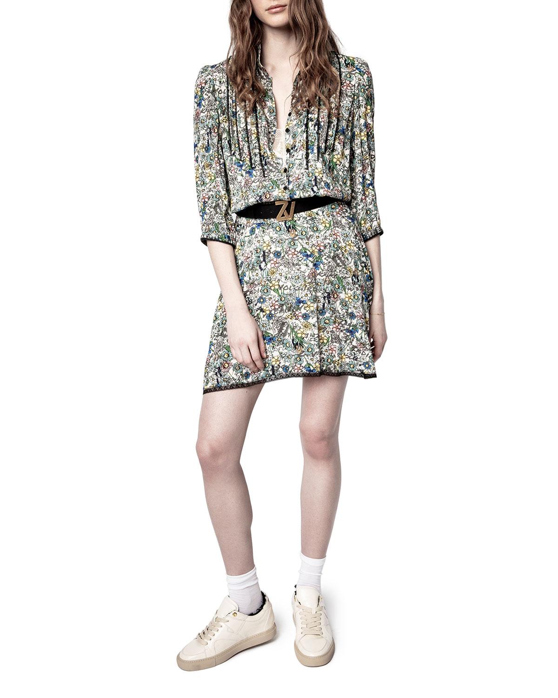 Zadig & Voltaire RASPAIL CRINKLE FLOWER DRESS