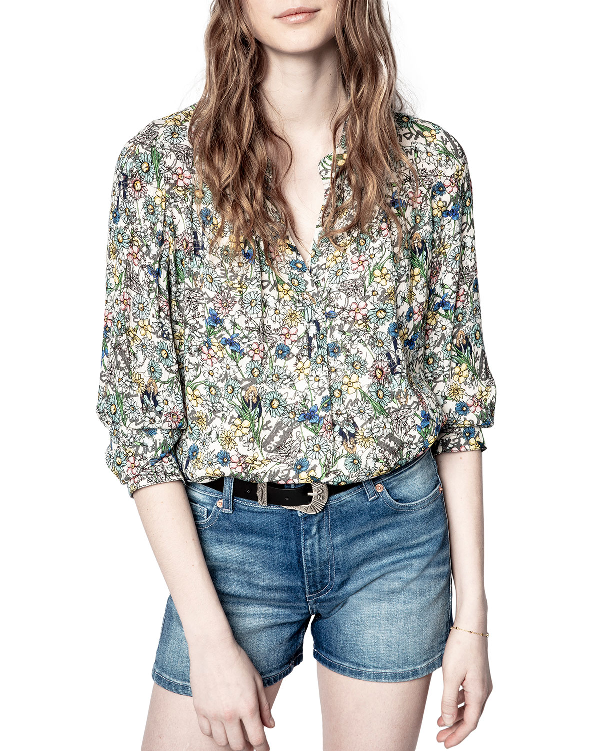 Zadig & Voltaire TINK CRINKLE FLOWER TUNIC TOP