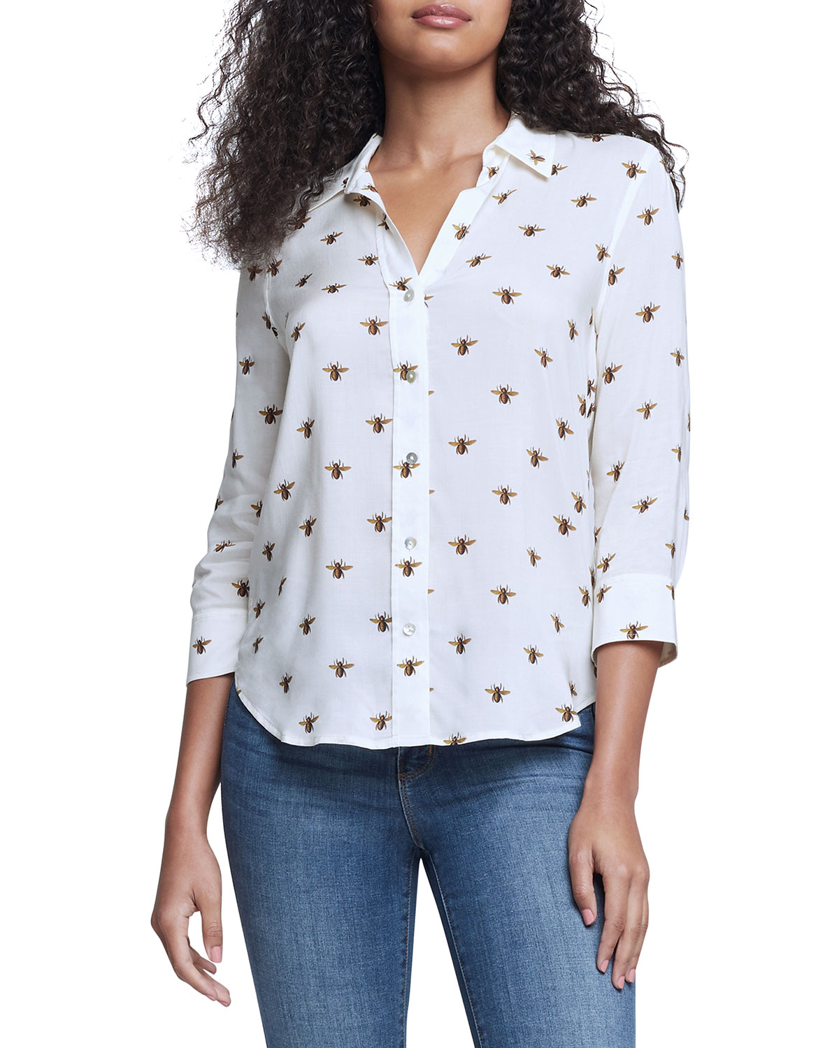Camille 3/4-Sleeve Bee-Print Blouse