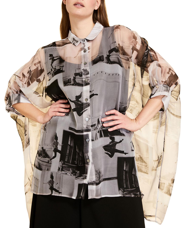 Plus Size Favilla Printed Silk Organza Shirt