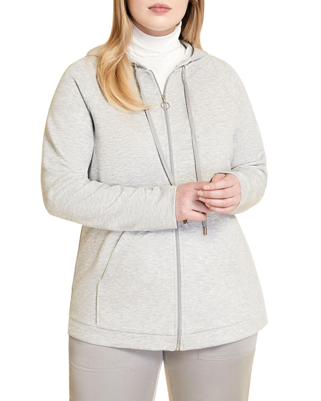 Plus Size Obliquo Zip-Front Hoodie