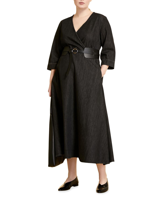 Plus Size Damiere 3/4-Sleeve Denim Dress