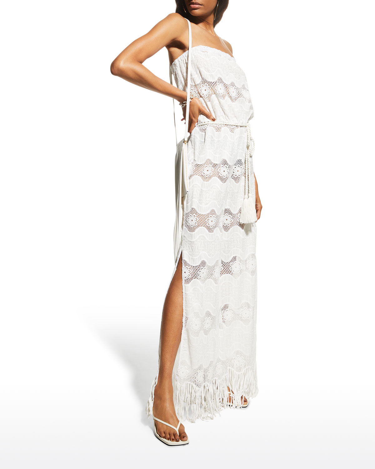 Naima Lace Belted Strapless Jumpsuit