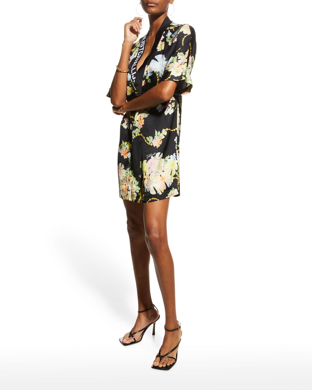 Mini Floral Dress w/ Logo Trim