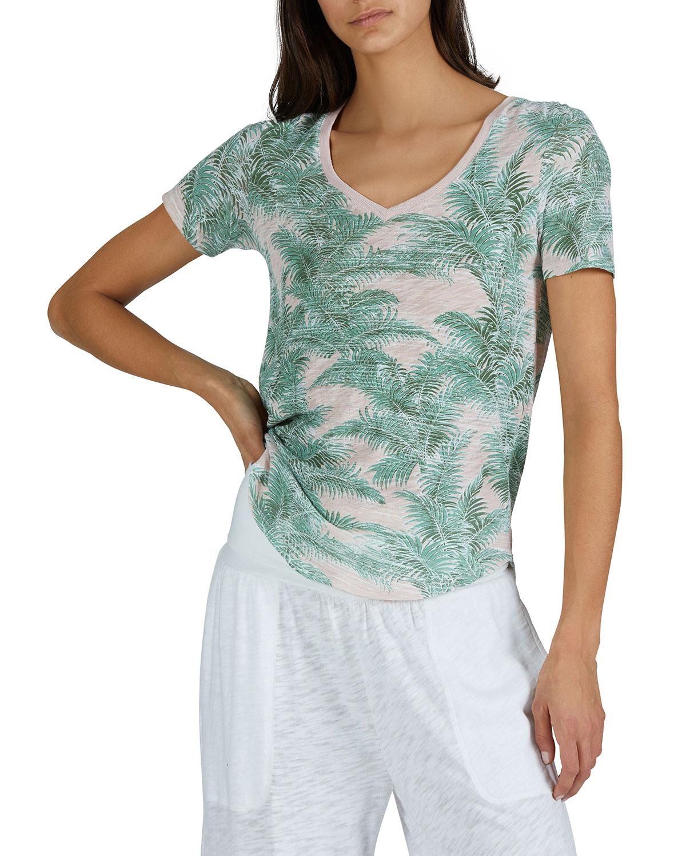 Palm-Print Slub Jersey V-Neck T-Shirt